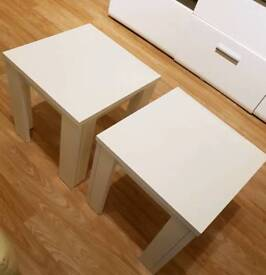 Two white high gloss tables