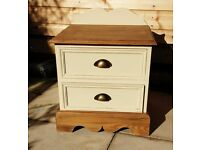 Shabby chic. Vintage two drawer pine bedside cabinet.