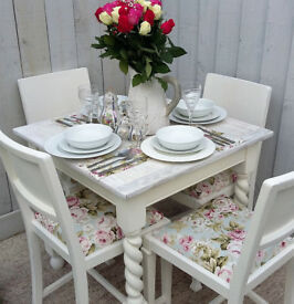 Stunning Shabby Chic Vintage Ok Dining Table and Chairs in Clarke and Clarke Designer Floral Print