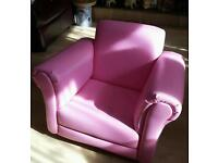 Child's Pink Leather Rocking Chair with Stool