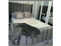 🔵💖🔴GREAT OFFER 🔵💖🔴 KING SIZE PLUSH VELVET ROYAL WING BED FRAME w OPTIONAL MATTRESS