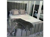 🔵💖AESTHETIC DESIGN🔵KING SIZE PLUSH VELVET ROYAL WING BED FRAME w OPTIONAL MATTRESS