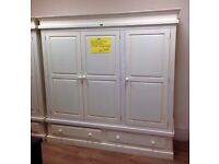 Solid Pine - 3 Door 2 Drawer White Washed (Shabby Chic) Wardrobe + FREE LOCAL DELIVERY AND ASSEMBLY