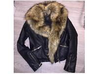 River island leather jacket size 8