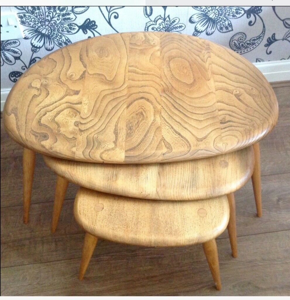 NEST OF 3 ERCOL GOLDEN DAWN REFURBISHED PEBBLE TABLES IN GOOD USED CONDITION