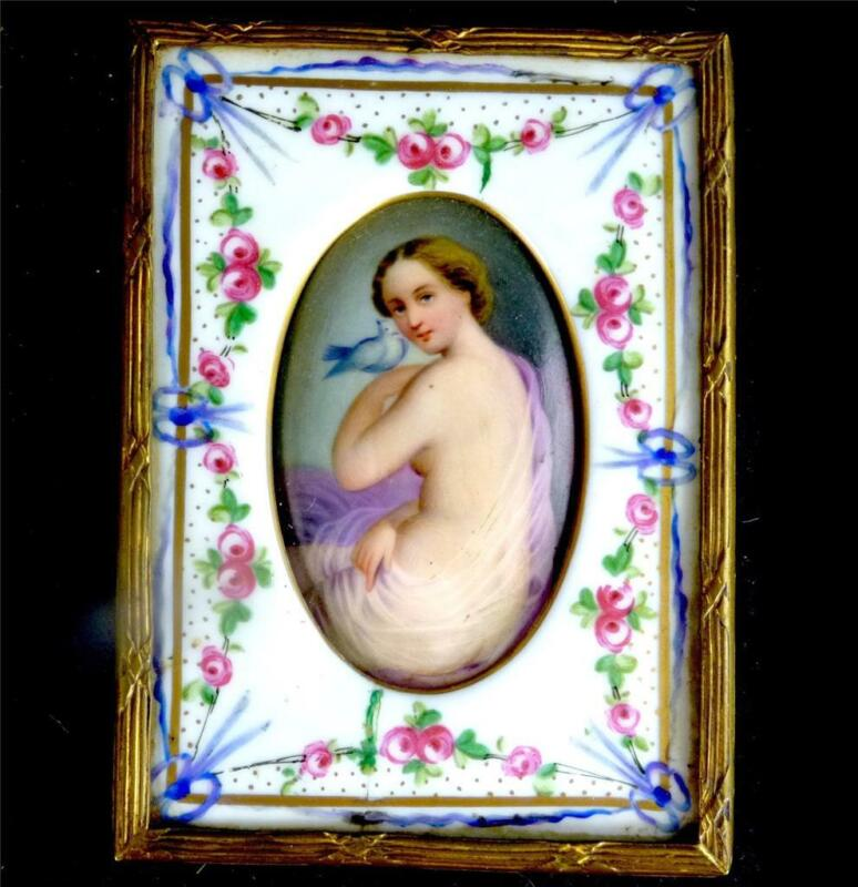 ANTIQUE GERMAN PORCELAIN HAND PAINTED PLAQUE SEMI NUDE WITH DOVE WITHIN FRAME