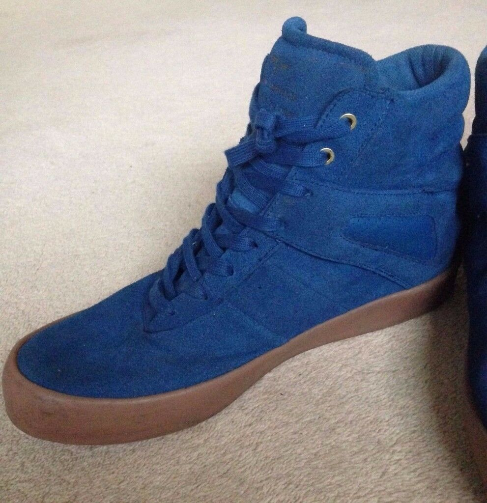 MENS REAL LEATHER SUEDE ANKLE BOOTS, CREATIVE RECREATION BLUE COLOUR, SIZE 10 uk