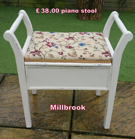 piano stool painted and upholstered