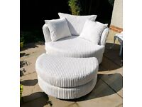 Sofa DFS CROSBY Collection - 2 Seater Swivel Cuddle Chair & Half Moon Footstool RRP £818 - LIKE NEW