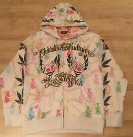 "Brand new authentic Christian Audigier men's luxury ""Clown"" designer hoodie. Screen printed. Large"