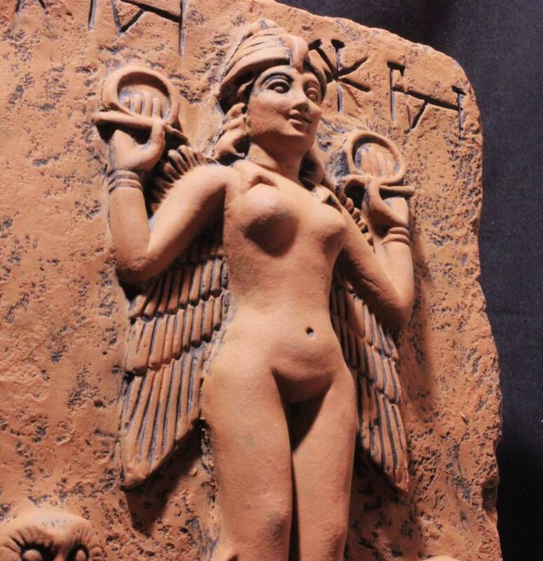 """ISHTAR """"Queen Of The Night"""" Babylonian Goddess stone relief ancient reproduction"""