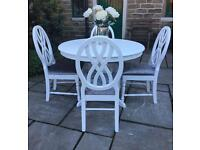Shabby Chic White Dining Table & 4 Chairs