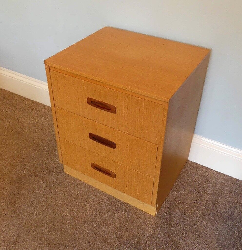 One Vintage / Retro G Plan Teak Bedside Table with 3 Teak drawers H24in/61cmW20in/51cmD17in/43cm