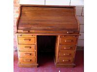 A 20th Century Hardwood Roll Top Bureau Writing Office Computer Desk