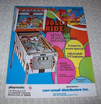 Playmatic JOLLY RIDE Original 1971 Flipper Game Pinball Machine Promo Flyer
