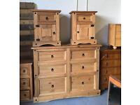 ⭐ MEXICAN PINE FURNITURE - BEDSIDE TABLES, LARGE CHEST OF DRAWERS