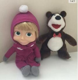 Masha And The Bear - Masha Singing Doll + Bear Soft Toy VGC