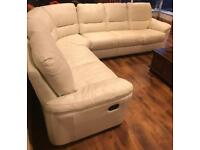 Large cream/white leather corner sofa