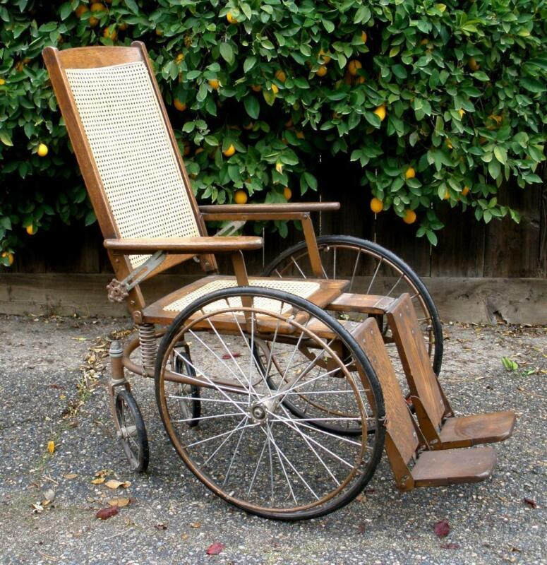 Vintage GENDRON WHEEL CO  Antique Oak Wheelchair Perrysburg Ohio