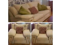 3 SEAT SOFA AND TWO ARMCHAIRS.