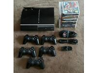 Playstation 3 80gb 5 control pads 15 games all leads