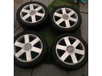 Genuine Audi 17 inch alloy wheels with tyres 5x112 vw seat Skoda fitment
