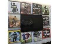 SONY PLAYSTATION PS3 SUPER SLIM & 10 GAMES CALL OF DUTY BLACK OPS AW GHOSTS MW2 MW3 MW4 WAW FIFA GT5