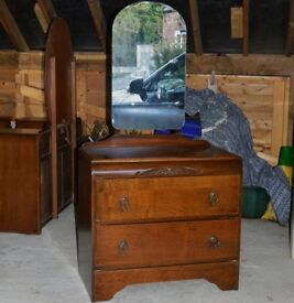 RETRO VINTAGE DRESSING TABLE CHEST OF DRAWERS WITH MIRROR STORAGE PROJECT