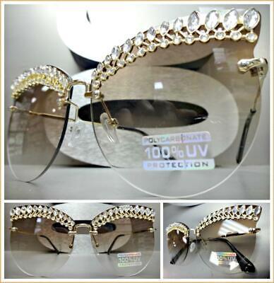 Classy Elegant Exotic RETRO CAT EYE Style SUNGLASSES Gold Frame Bling Honey (Bling Cat Eye Sunglasses)