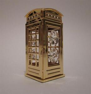 Gold Plated With Swarovski Crystals Telephone Box Boxed By Crystal Temptations