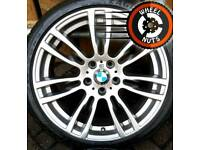 "19"" Genuine BMW M Sport staggered 3 ser alloys excel cond Goodyear runflats."