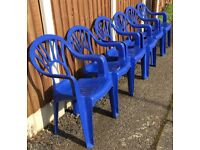 GARDEN/ PATIO CHAIRS SET OF 6 BLUE MADE BY OASIS PLEASE SEE ALL PHOTOS