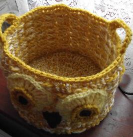 Handmade crochet owl basket.