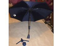 Mothercare mGo UV Parasol / Sun Umbrella & Pram Attachments - Navy - Used once