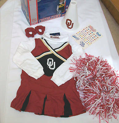 new nwt girls size sz 3T OU Oklahoma Cheer leader dress up costume 7pcs pom poms