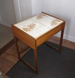 G Plan Retro Bedside Table with Tiled Top