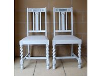 ANTIQUE / VINTAGE PAIR OF BARLEY TWIST CHAIRS Hand Painted, Shabby Chic Style