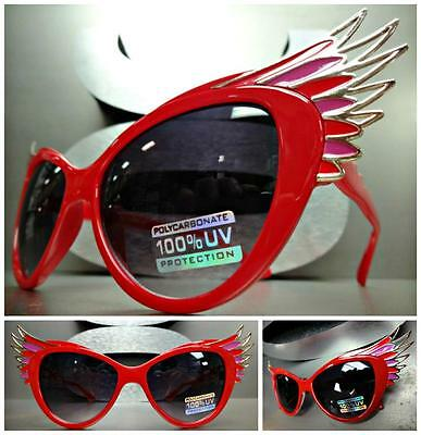 UNIQUE VINTAGE EXAGGERATED CAT EYE with WINGS Style SUN GLASSES Red & Gold (Winged Cat Eye Glasses)