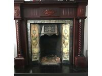 Stunning Cast Iron, Tiled, open fire surround with wooden mantle (Mahogany tone)