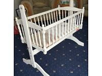 Little angels baby swinging crib white with mattress