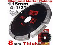 "NEW - Mortar Raking Disc 115mm 41/2"" Diamond Mortar Raking Blade Angle Grinder Disc"