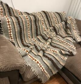Handwoven 100% sheep wool blanket / rug / throw