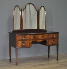 Attractive Bow Front Vintage Mahogany Dressing Table With Triple Mirrors