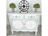 Stunning French Inspired Sideboard With Resin Marble Top | Cabinet | Dresser | Rustic |