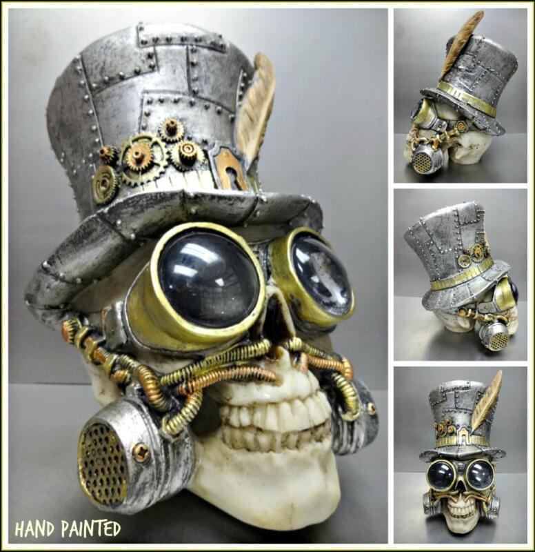 Steampunk Gothic Robotic SKULL Top Hat & Goggles Skeleton HEAD Sculpture Decor