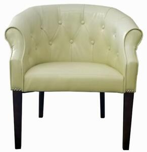 4 - Cream Leather Tub Chair w/Brushed Silver Nail head on SALE