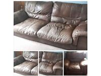 TWO ITEMS. LEATHER SOFA + ARMCHAIR
