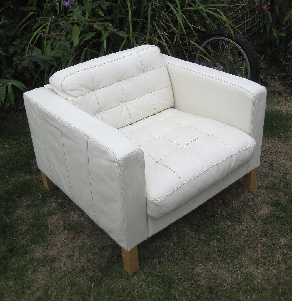 Soft white real leather IKEA LANDSKRONA ARMCHAIR Lounge ...