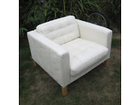 Soft white real leather IKEA LANDSKRONA ARMCHAIR Lounge tub chair RRP £395