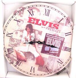 """Round Elvis Clock Diameter: 13.5""""/34cm"""
